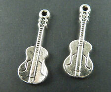 70pcs Tibetan Silver Guitar Charms Pendants 26x9.5x1.5mm 8076