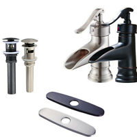 Newly Waterfall Spout Single Handle Bathroom Sink Faucet Basin Mixer Taps