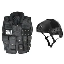 Airsoft SWAT Law Enforcement Vest Tactical Accessory Rail Adjustable Helmet BLK