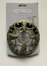 YANKEE CANDLE PINEAPPLE BRONZE COLORED ILLUMALID JAR CANDLE TOPPER HTF ITEM