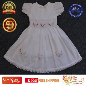 Smocked Dress Baby Girl Flower Wedding Party Christening Gown Formal Pageant