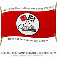 Corvette Sting Ray Banner Garage Shop Wall Decor Chevy Chevrolet red bnd