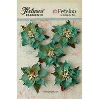 Textured Burlap TEAL Poinsettias x 5 flowers with Leaves 5-6cm across Pet L BO