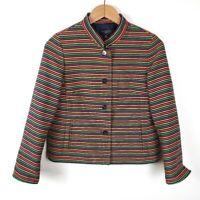 TALBOTS Multicolor Blazer Striped Button Up Suit Jacket Womens Petite Size 6 GUC