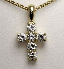Diamond Cross pendant necklace WOMEN'S ladies .42 ct dia Hatton garden made