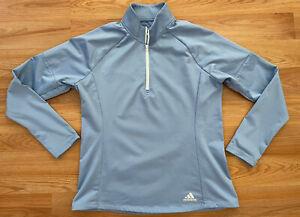Adidas Women's Golf 1/4 Zip Light Blue Long Sleeve Pullover Size Large EUC!