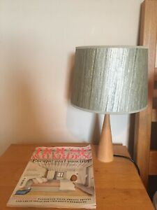 Fabulous pair of John Lewis & Heals Bedside Lamps & Light shades (wood & green)