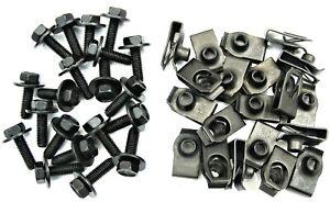 Ford Truck Body Bolts & U-nut Clips- M6-1.0 x 20mm Long- 10mm Hex- 40 pcs- #150F