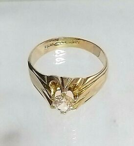 9ct Gold Man's Diamond Simulant Solitaire Ring Hallmarked excellent quality sz U