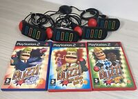 PLAYSTATION 2 BUZZ BUNDLE - CONTROLLERS 4 + 3 GAMES Sports- Music - The Big Quiz