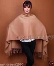 New Women's Winter 100% Cashmere Pashmina Solid Tassel Shawl Wrap Scarf