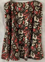 Lane Bryant Plus Size 22/24 - 3X Brown Tan Coral Fit Flare Abstract Print Skirt