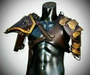 Medieval celtic viking or barbarian Leather Pauldrons Leather Shoulder Armor