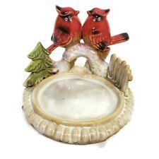 Cardinals Bird Candle Holder Ceramic Pillar Stand Green Christmas Tree Red Birds