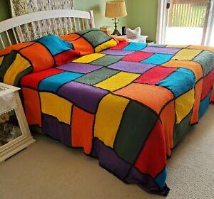 "Vintage XL Boho Afghan Crochet Throw Blanket 124"" x 134"" Handmade Bedspread WARM"