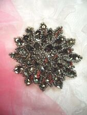 "Smoke Sequin Applique Floral Beaded Iron on Patch Crafts DIY 3"" (XR364)"