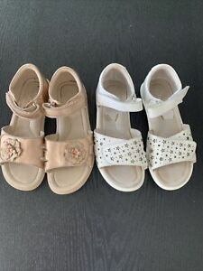 CLARKS - 2 x Girls Sandals (white and rose gold) - Size 33