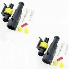 2 Kit 1 Pin Way Sealed Waterproof Electrical Connector Plug for Car Auto Boat
