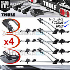 4 x Thule FreeRide 532 Car Roof Mount Cycle Carrier Bike Rack + T-Tracks + Locks