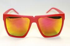 Flattop Nerd Brille Sonnenbrille Retro gummiert matt rot gold verspiegelt 549