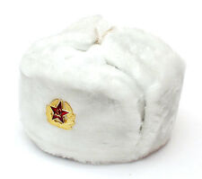 RUSSIAN AUTHENTIC WHITE USHANKA MILITARY HAT WITH SOVIET ARMY EMBLEM
