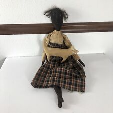 Primitive Folk Art Rag Doll Black African Americana Distressed Country Chic Cat