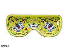 KELVIN CHEN Enamel Eyeglasses Hand paint copper Dish Tray - Yellow Royal design