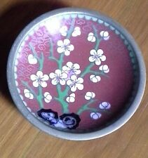 Beautiful 80mm Vintage Cloisonné Cherry Blossom Tree Dish C1940's