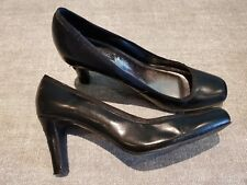 Next size 7 (41) black leather court shoes heels
