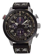 Seiko Men's Genuine Leather Strap Wristwatches