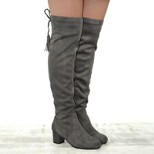 Womens Over The Knee High Stretch Leg Ladies Block Heel Lace up Long BOOTS UK 8 / EU 41 / US 10 Grey Faux Suede