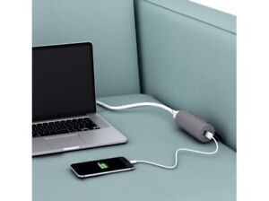 Sofa Couch Low Profile 10ft Cord Electrical Socket USB Charger 1 Outlet 2 Ports