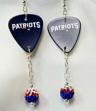 NFL New England Patriots Guitar Pick Earrings with Striped Pave Dangles