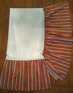 """CHAPS Home Juliette Stripe Queen Split Corner Bed Skirt 15"""" Drop Red Multicolor"""