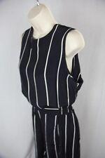 Vtg Nicole Miller Navy/stripe Short Sleeve Suit w Shorts sleeveless top Rayon 14
