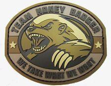 TEAM HONEY BADGER 3D RUBBER PVC USA ARMY ISAF MORALE MILSPEC DESERT HOOK PATCH