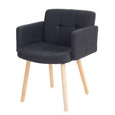 Chaise de séjour Orlando II, style rétro ~ tissu, gris foncé