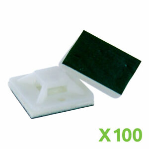 Self Adhesive 20mm x 20mm Zip Tie Mount Base Clip Holder Mounting Pad White x100