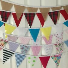 Handmade Checked  /& Chambray Fabric Bunting 2.5 metre length