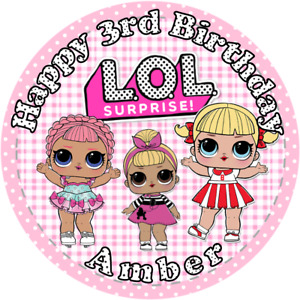 """LOL DOLL, 7.5"""" , 2"""" , 1.5"""" ROUND EDIBLE ICING PRINTED CAKE TOPPER"""
