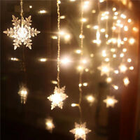 50 LED Snowflake Fairy String Curtain Window Light Christmas Wedding Party Decor