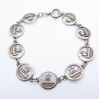 Vintage Ortak Malcolm Gray Scottish Sterling Silver Viking Ship Bracelet – 40th