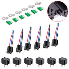 6 Pack 30A Fuse Relay Switch Harness Set - 12V DC 4-Pin SPST Automotive US
