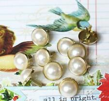 12mm PEARL BRADS - WHITE w/Gold Trim Wedding Party Cards Scrapbook 10pc