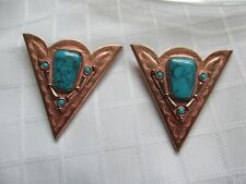 1 PAIR VINTAGE COPPER /TURQUOISE COLLAR POINTS (COLLAR RANDS)