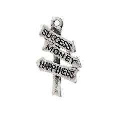 """5 Antique Silver """"Success, Money, Happiness"""" Signpost Charm Pendants chs1444"""