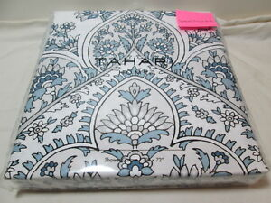 "New Tahari Floral Paisley Shower Curtain 72x72"" NEW PATNA ~ Blue, Grey and White"