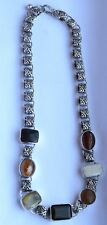 Vintage 925 Sterling Silver Natural stones Necklace