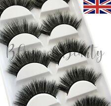 Mink Eyelashes Volume 3D False Lashes Wispy Long Layered Thick 5 Pairs UK