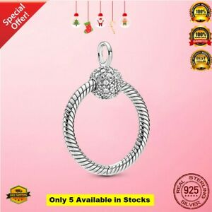 Real 925 Sterling Silver Moments Small CZ Pave O Pendant Christmas Gifts Chain N